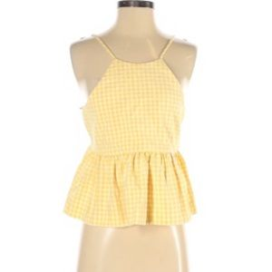 Zara yellow white gingham baby doll crop top tie